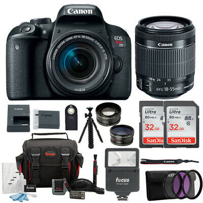 Canon EOS Rebel T7i DSLR Camera with 18-55mm lens and 64GB Accessory Bundle