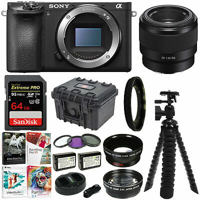 Sony Alpha a6500 Mirrorless Camera with 50mm f/1.8 Lens and 64GB SD Card Bundle
