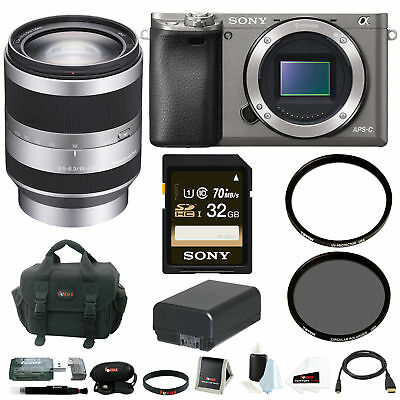 Sony Alpha A6000 Camera Body w/ 18-200mm Lens and 32GB Bundle (Graphite)