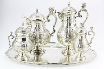 Antique Georg Roth Hanau 800 Silver Figural Revival 5 Piece Tea Set c.1890
