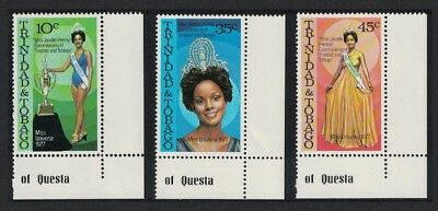 Trinidad and Tobago 'Miss Universe 1977' Commemoration 3v Corners with margins