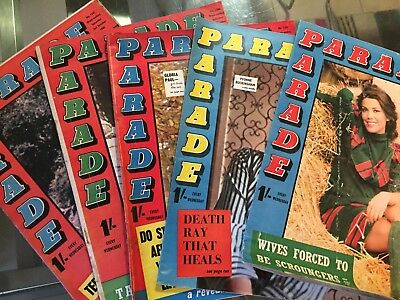 Five x 1965 Parade Magazines - See Pix for Issue Numbers and Dates (L8)