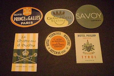 Vintage International Luggage Travel Stickers/Hotel Tags-Mid Century-Lot of 6