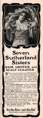 1903 A Ad Seven Sutherland Sisters Scalp Cleaner Hair Grower Quack Billiard Ball