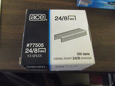 ACE 24/8 mm BOX OF 5,000 STAPLES --CHISEL POINT  MODEL #77505