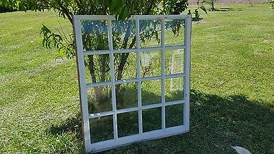 VINTAGE SASH ANTIQUE WOOD WINDOW PICTURE FRAME PINTEREST 43x40 16 PANE DECOR