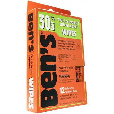 Ben's 12 Individually Wrapped Insect Mosquito Repellent Wipes 30% DEET