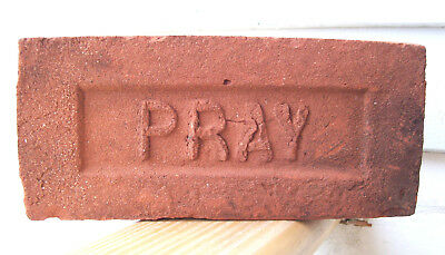 "ANTIQUE ""PRAY"" BRICK  New England GREENFIELD MA  Brickyard Red Clay ~C~"