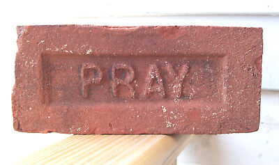 "ANTIQUE ""PRAY"" BRICK  New England GREENFIELD MA  Brickyard Red Clay ~B~"