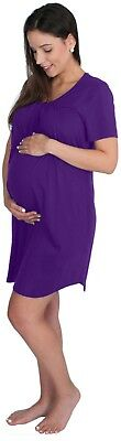 NEW! Short Sleeve Maternity Nursing Nightgown Breastfeeding Dress Sleepwear