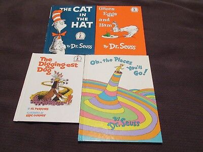 Lot 4 Dr. Seuss Books HC Green Eggs and Ham Cat in the Hat Diggity Dog Oh the Pl
