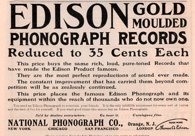 1904 A Ad Edison Gold Moulded Phonograph Records