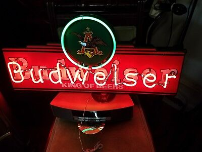 BUDWEISER NEON SIGN, King of Beers Bar sign 1997 - $271 35