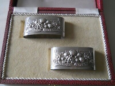 Pair Continental Silver oval Napkin Rings Holders w/ Case