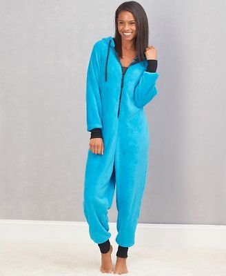 Women's Cozy Plush Hooded Coveralls Loungewear Pajamas Bright Blue Choose Size