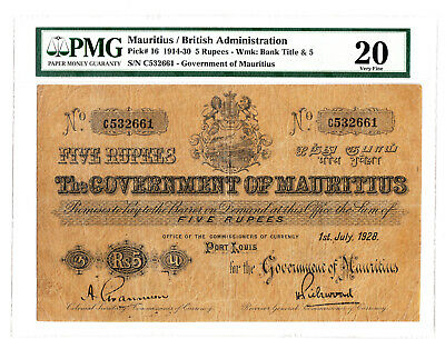 Mauritius 5 Rupees 1928 P. 16 PMG VF 20 Scarce Note