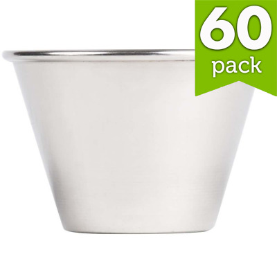 Pack of 60  Stainless Steel sauce cup Dipping cup Condiments Dressing bowl 4 oz.