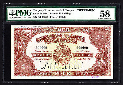 Tonga 4 Shillings SPECIMEN Note 1945 P. 9 /9s PMG  58 Choice AU RARE