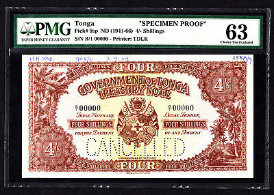 Tonga 4 Shillings SPECIMEN Proof Note 1949 P. 9 /9sp PMG 63 Choice UNC RARE