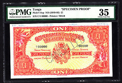 Tonga 1 Pound SPECIMEN Proof Note 1955 P. 11 /11sp PMG 35 Choice VF RARE