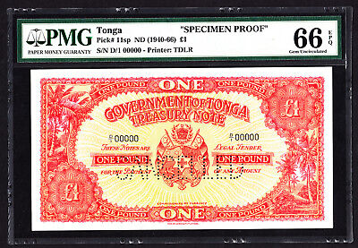 Tonga 1 Pound SPECIMEN Proof Note ND 1940-66 P. 11 /11sp PMG 66 GEM UNC EPQ