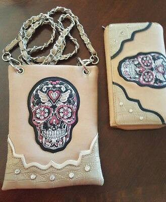 Skull Rhinestone Cross Crossbody/ Cell Phone/ Messenger Bag beige and brown