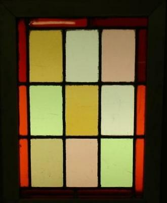 """OLD ENGLISH LEADED STAINED GLASS WINDOW Colorful Geometric 12.75"""" x 17"""""""