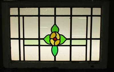 "LARGE OLD ENGLISH LEADED STAINED GLASS WINDOW Cute Abstract Floral 40.5"" x 19"""