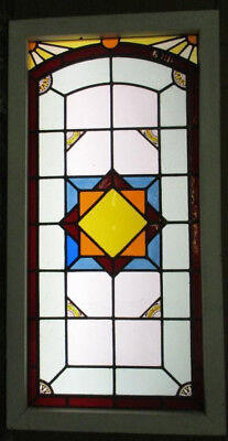 "LARGE OLD ENGLISH LEADED STAINED GLASS WINDOW Beautiful Geometric 38.75"" x 20"""