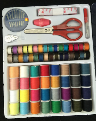 100PC Sewing Kit Thread Threader Needle Tape Storage Box Measure Scissor Thimble