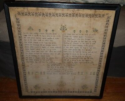 1806 FOLKART SAMPLER COMPARING NATIVE AMERICAN & ENGLISH CULTURE RARE TOPIC vafo