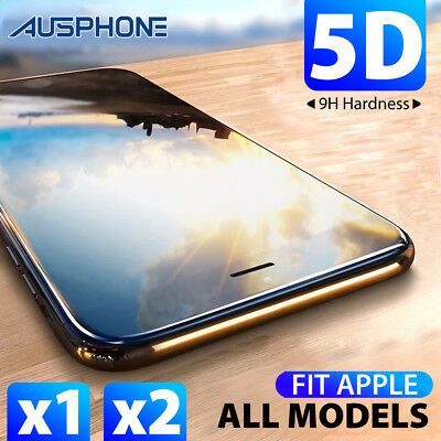 Apple iPhone XS Max XR 8 7 6s Plus 5D Full Cover Tempered Glass Screen Protector