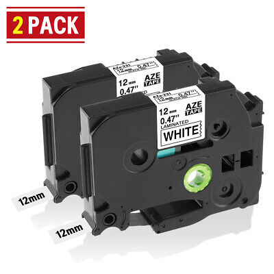 2PK Compatible for Brother P-Touch TZ231 TZe231 Black on White Label Tape 12mm