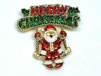 "Merry Christmas Santa on swing Brooch pin 2""x1 1/2"" GIFT idea gold tone #17"
