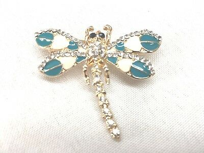 "Teal dragonfly Brooch pin 1.75""x1.5"" GIFT gold tone Christmas gift idea #17"