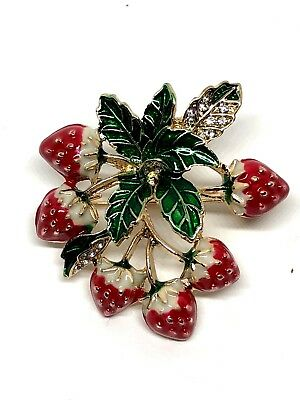 "Strawberry Brooch pin 1.25""x1.5"" GIFT gold tone gift idea stocking stuffer #17"
