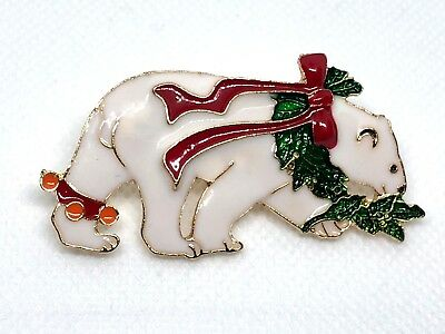 "Polar bear Christmas Brooch pin 1""x 2"" GIFT gold tone Christmas gift idea #17"