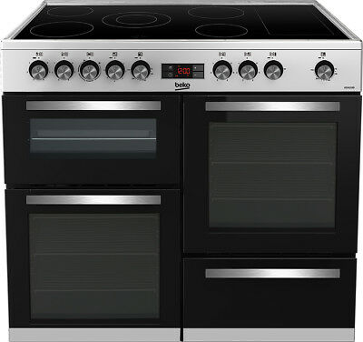beko kdvc100x 100cm 5 burners electric range cooker stainless steel new from ao
