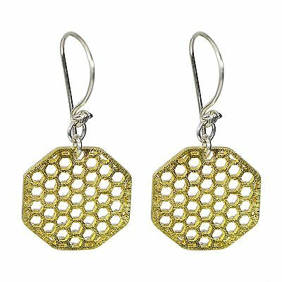 Two tone textured filigree earrings 925 Solid Sterling Silver Women Jewelry by C