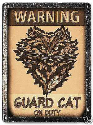 Funny Cat guard METAL Sign / great gift vintage style home kitty wall decor 227