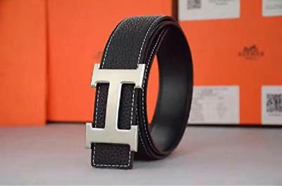 """Amazing Durable Leather Black Hermes Belt 32""""-34"""" Silver Buckle Good Quality New"""