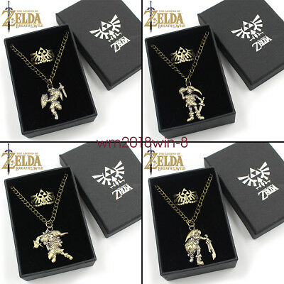 Zelda breath of the wild Link Symbol Logo Metal Necklace Ring set in box