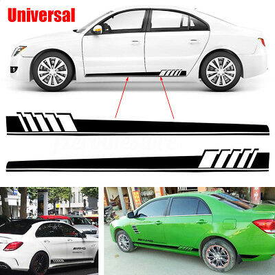 2pcs universal car side body decal sticker sports racing race car long stripe 2m