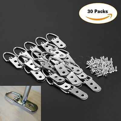 30Pcs 53mm*23mm Heavy Duty D-Ring Picture Hangers Frame Hanging 2 Hole+60 Screws