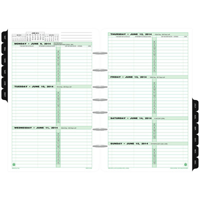 "Day Timer Refill 2018 Two Page Per Week January December 2018 5-1/2 x 8-1/2"" New"