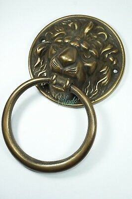 Lion Brass Door Knocker Vintage Antique Victorian Metal Rustic Skull Tattoo