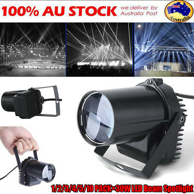 1-10× 30W White LED Stage Light Spin Pin Beam Light Show Party Disco DJ Lighting