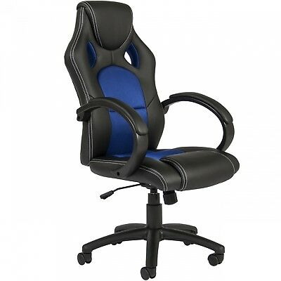 Executive Office Chair Racing Gaming PU Leather Computer Desk High Back Blue New