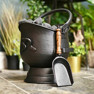 Traditional Black Coal Bucket with a Shovel in 2 Sizes – Fireside Accessories