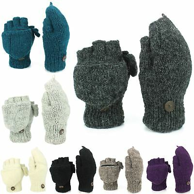 Wool Gloves Mittens Fingerless Shooter Lined PLAIN Knit Handmade LoudElephant
